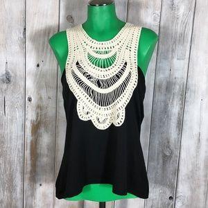 NWT Black White Crochet Tank Top Ecowish Size XL